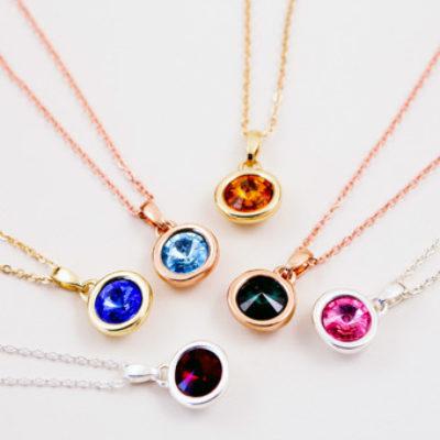 Personalised charm necklaces large gemstone charm aloadofball Choice Image